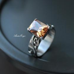 cyrkonia,oksydowane srebro,elegancki pierścionek - Pierścionki - Biżuteria
