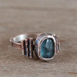 srebrny pierścionek z apatytem - Pierścionki - Biżuteria