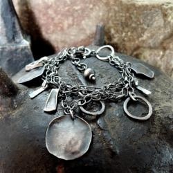 Srebrna,bransoletka,z srebrnymi patyczkami - Bransoletki - Biżuteria