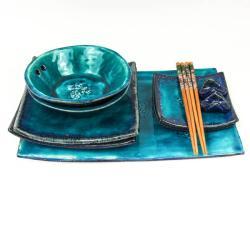 sushi,ceramika,turkusowy,zestaw - Ceramika i szkło - Wyposażenie wnętrz