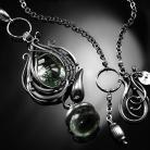 Naszyjniki srebrny,naszyjnik,zielony,ametyst,wire-wrapping