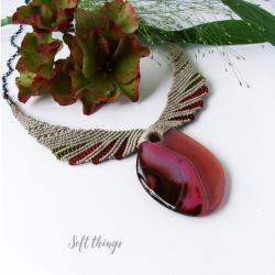 etniczny naszyjnik makrama,naszyjnik z agatem - Naszyjniki - Biżuteria