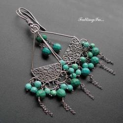 kolczyki,z turkusem,etno,długie,boho - Kolczyki - Biżuteria