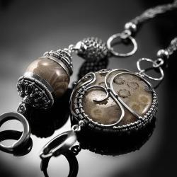 srebrne,kolczyki,wire-wrapping,skamieniały,koral - Kolczyki - Biżuteria