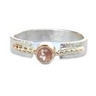 Pierścionki srebrno złoty pierścionek z diamentem