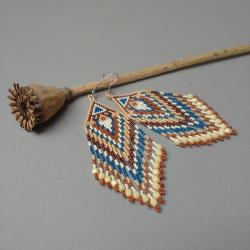 kolczyki długie,z frędzlami,kolorowe,indiańskie - Kolczyki - Biżuteria
