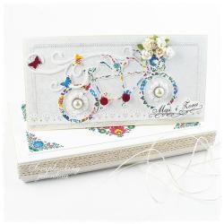 tandem,rower,ślub,folk,kwiaty,serce,pudełko - Kartki okolicznościowe - Akcesoria