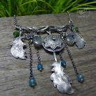 Naszyjniki srebrny,etniczny,mandala,pióra