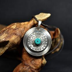 srebrna mandala,naszyjnik z turkusem - Naszyjniki - Biżuteria