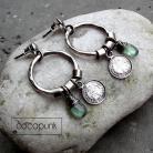 Kolczyki codzienne,zielone,z kianitami,z monetkami,srebrne