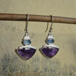 fioletowe kolczyki,ametyst,fiołki - Kolczyki - Biżuteria