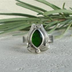 zielony pierścionek,diopsyd chromowy - Pierścionki - Biżuteria