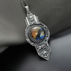 wisior,srebrny,z labradorytem,amulet - Wisiory - Biżuteria