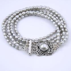 perłowy naszyjnik,klasyczna biżuteria - Naszyjniki - Biżuteria
