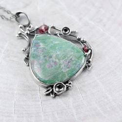 zielony naszyjnik,fuchsyt,rubin,szafir różowy - Naszyjniki - Biżuteria