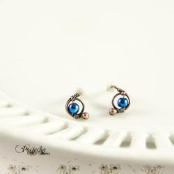 kolczyki,miedź,sztyfty,hematyt niebieski,retro, - Kolczyki - Biżuteria