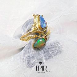 Obrączka srebrna z opalami. - Pierścionki - Biżuteria
