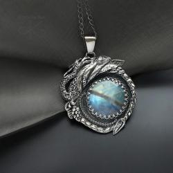 wisior,srebrny,ze smokiem,okazały - Wisiory - Biżuteria