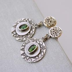 srebrne kolczyki,z turmalinami,MartaGrzywna - Kolczyki - Biżuteria