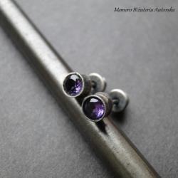 srebro,ametyst,surowe,sztyfty - Kolczyki - Biżuteria