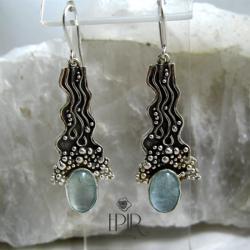 Kolczyki srebrne z akwamarynami - Kolczyki - Biżuteria