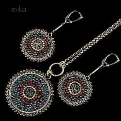 komplet biżuterii,komplet z granatem,wire wrapping - Komplety - Biżuteria
