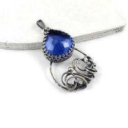 wisiorek,wire-wrapping,niebieski,retro - Wisiory - Biżuteria