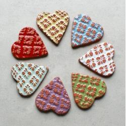 serce,magnes,rustykalne,folk,kolorowe - Magnesy na lodówkę - Wyposażenie wnętrz