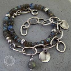 srebro,labradoryt,kianit,oksydowana,podwójna - Bransoletki - Biżuteria
