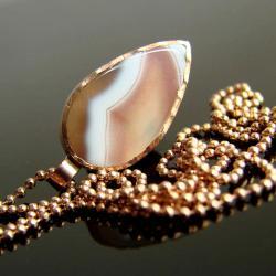 agat,agat botswana,naszyjnik,pozłacane srebro, - Naszyjniki - Biżuteria