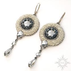hematyt,srebrne,grafitowe,na wieczór,okrągłe, - Kolczyki - Biżuteria