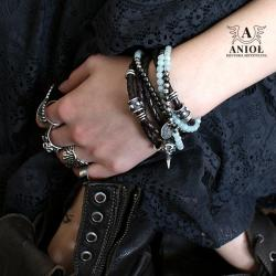 komplet bransolet,rockowa biżuteria,czaszka - Bransoletki - Biżuteria