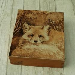 lis,motyl,herbatnica,pirografia,wypalanie - Pudełka - Wyposażenie wnętrz