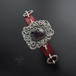 bransoletka,na rzemieniu,srebrna,z kamieniem - Bransoletki - Biżuteria