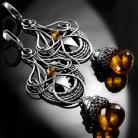 Kolczyki srebrne,kolczyki,wire-wrapping,cytryn,ciba,miodowe