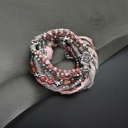 bransoletka,zestaw,z jedwabiem sari,z kwiatami - Bransoletki - Biżuteria