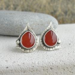 pomarańczowe,kolor,wkrętki z kamieniem - Kolczyki - Biżuteria
