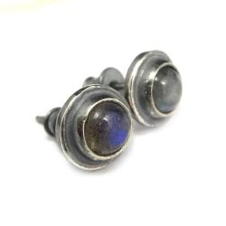 srebrne,oksyda,labradoryty,blask,niebieskie,mini, - Kolczyki - Biżuteria