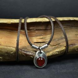 naszyjnik z kamieniem karneolem - Naszyjniki - Biżuteria