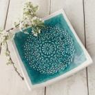 Ceramika i szkło patera,ceramika,talerz,turkus,koronka