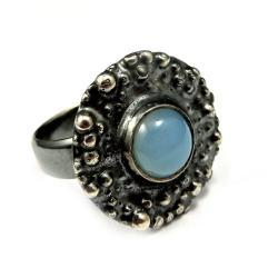 agat,błękitny,delikatny,blask,srebrny,srebro,retro - Pierścionki - Biżuteria