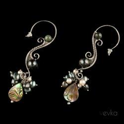 kolczyki z pereł,muszla paua,fantazyjne kolczyki - Kolczyki - Biżuteria