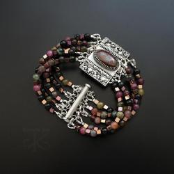 srebrna,bransoletka,z opalem,z turmalinami - Bransoletki - Biżuteria