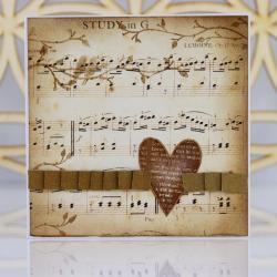 kartka,nuty,serce,ptaki,gałązki, - Kartki okolicznościowe - Akcesoria