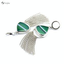 agat,łańcuszki,frędzle - Kolczyki - Biżuteria