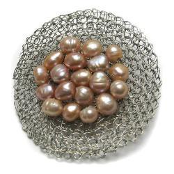 broszka,pleciona,perły,siateczka,elegancka - Broszki - Biżuteria