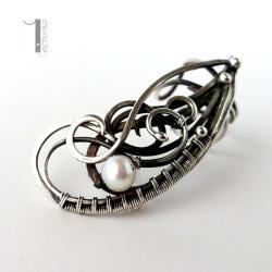 nausznica srebrna,kolczyki,wire wrapping,perła - Kolczyki - Biżuteria