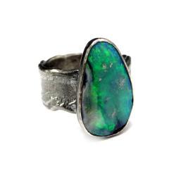 opal,australijski,okaz,fiolet,zielony,wiosna,styl - Pierścionki - Biżuteria