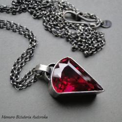 srebro,amulet,rubinowy,kwarc,surowy - Naszyjniki - Biżuteria