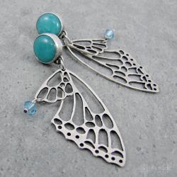 skrzydła,motyl,romantyczne,ażurowe,turkusowe - Kolczyki - Biżuteria